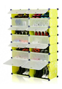 Tupper Cabinet 7 Tier 14 Cubes DIY Shoe Rack (Green Flower)