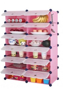 Tupper Cabinet 12 Cubes Pink Color DIY  Kitchen Storage With 10 Iron Frame