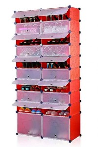 Tupper Cabinet 10 Tier 20 Cubes Stripes DIY Shoe Rack (Red)