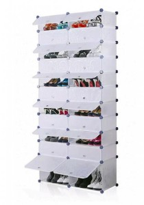 Tupper Cabinet 11 Tier 22 Cubes DIY Shoe Rack (Black Stripes)