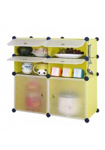 Tupper Cabinet 6 Cubes Fruit Green DIY  Kitchen Rack With 4 Iron Frame