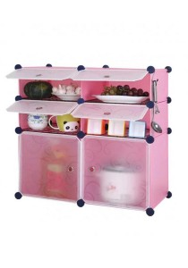 Tupper Cabinet 6 Cubes Pink DIY Kitchen Storage With 4 Iron Frame