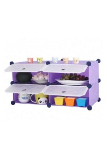 Tupper Cabinet 4 Cubes Purple Stripes DIY  Kitchen Rack With 2 Iron Frame
