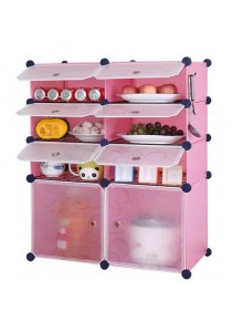 Tupper Cabinet 8 Cubes Pink Color DIY  Kitchen Storage With 6 Iron Frame