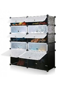 Tupper Cabinet 5 Tier 10 Cubes DIY Shoe Rack - Black