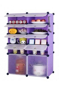Tupper Cabinet 10 Cubes Purple Stripes DIY  Kitchen Storage With 8 Iron Frame