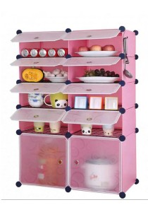 Tupper Cabinet 10 Cubes Pink Color DIY  Kitchen Storage With 8 Iron Frame