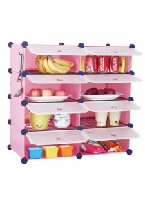 Tupper Cabinet 8 Cubes Pink Color DIY  Kitchen Shelf With 6  Iron Frame