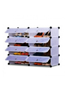 Tupper Cabinet 4 Tier 8 Cubes Stripes DIY Shoe Rack (White)