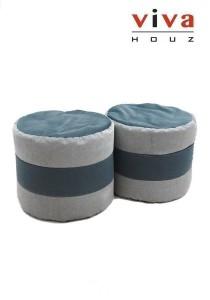 2 Tone Round Bean Stool - Grey (Set of 2)