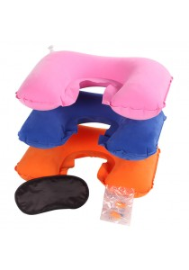 3-In-1 Travel Kit (Inflatable Neck Pillow+Ear Plugs+Eye Mask)