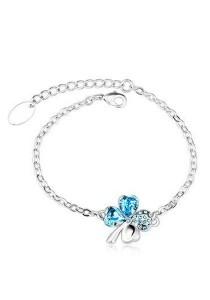 OUXI Four Leaf Clover Bracelet (Aquamarine)