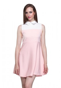 Angel Court Sleeveless Shirt Collar Mini Dress AC38-5348