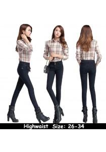 WAORDER Korean Elastic Highwaisted Denim Long Pants - Dark Blue 316