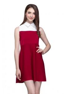 Angel Court Sleeveless Shirt Collar Mini Dress AC38-5349