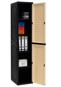 nesthouz.com Optimus Slim Storage Cabinet in Beech/Black