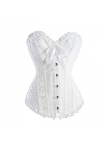 Sweetheart Satin Corset (White) Bridal, Casual, Slimming Corset XXL