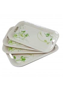 Idea Melamine Serving Trays Plastic Pattern Green 6 Pcs (16.5 inch)