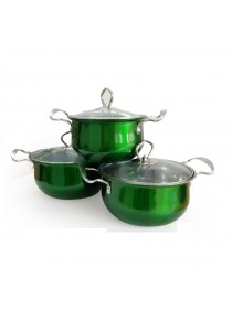 Idea Stainless Steel Cookware Set With Glass (Green) 16/18/20cm