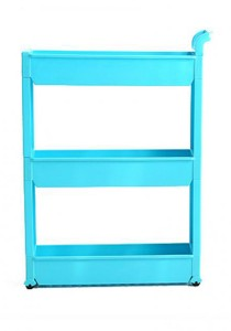 FASHION TEE Storage Rack with Handle and Wheels 3 Tiers (Blue)