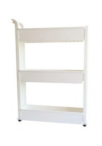 FASHION TEE Storage Rack with Handle and Wheels 3 Tiers (White)