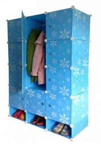 Tupper Cabinet 15 Cubes Full  Blue Flower DIY Wardrobe With Shoe Rack