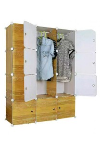 Tupper Cabinet 12 Cubes Wood Design  DIY Wardrobe (Brown)