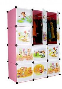 Tupper Cabinet 12 Cubes Pink Color Cartoon  DIY Wardrobe