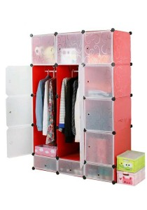 Tupper Cabinet 15 Cubes Red Stripes 2-Hanger DIY Wardrobe With Shoe Rack
