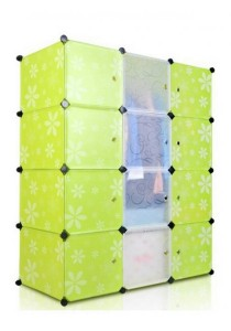 Tupper Cabinet 12 Cubes Green Flower Body Mix 4 White Stripes Doors-Korean Design DIY Wardrobe