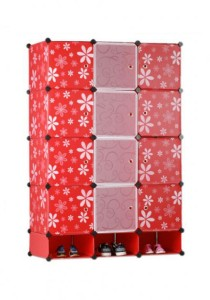 Tupper Cabinet 15 Cubes Mix Doors DIY Wardrobe With Shoe rack (Red Flower)