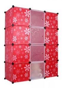 Tupper Cabinet 12 Cubes Mix Door DIY Cabinet (Red Flower)