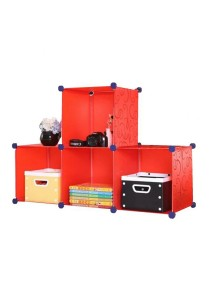 Tupper Cabinet 4 Cubes T-Shape Red Stripes DIY Decorative Storage Organizer