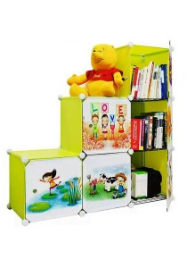 Tupper Cabinet 6 Cubes Fruit Green DIY Cartoon(Story) L-Shape Storage With 3 Iron Frame