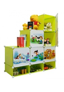 Tupper Cabinet 9 Cubes DIY Fruit Green Cartoon(Story) L-Shape Storage With Mini Bottom