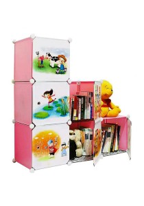 Tupper Cabinet 6 Cubes Pink Color DIY Cartoon(Story) L-Shape Storage With 3 Iron Frame