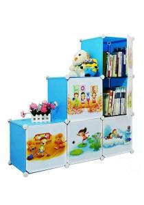Tupper Cabinet 6 Cubes Sky Blue DIY Cartoon(Story) L-Shape Storage