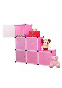 Tupper Cabinet 6 Cubes Pink Color L-Shape Decorative DIY Cabinet