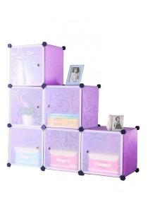 Tupper Cabinet 6 Cubes Purple Stripes L-Shape Decorative DIY Cabinet