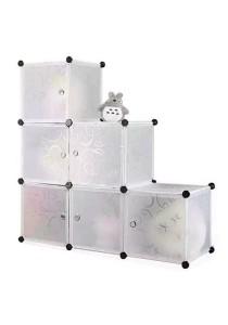 Tupper Cabinet 6 Cubes Full White Stripes L-Shape DIY Decorative Rack