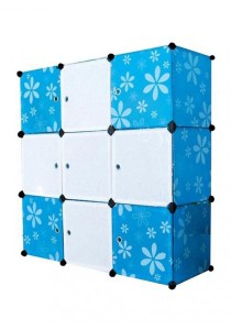 Tupper Cabinet 9 Cubes Mix Stripes Doors Flower DIY Storage Cabinet (White/Blue)