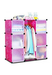 Tupper Cabinet DIY Wardrobe 9 Cubes Pink