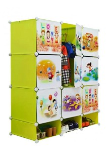 Tupper Cabinet  DIY Cartoon Wardrobe With Shoe Rack12 Cubes Fruit Green