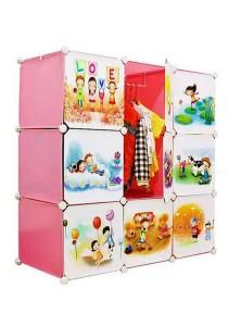 Tupper Cabinet 9 Cubes DIY Cartoon Wardrobe Pink