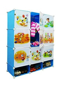 Tupper Cabinet 12 Cubes Sky Blue DIY Cartoon (Story) Wardrobe With Shoe Rack