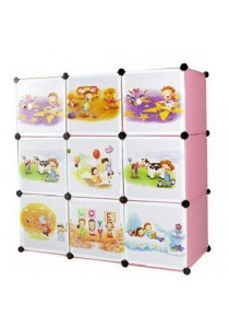 Tupper Cabinet 9 Cubes Pink Color Cartoon Storage DIY Cabinet