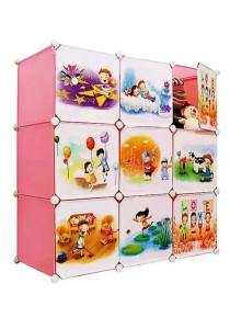 Tupper Cabinet 9 Cubes DIY Pink Color Cartoon(Story) Cabinet