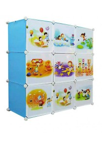 Tupper Cabinet 9 Cubes DIY Sky Blue Cartoon(Story) Cabinet