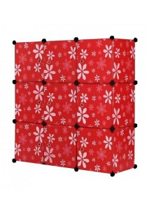 Tupper Cabinet 9 Cubes Red Flower DIY Storage Cabinet