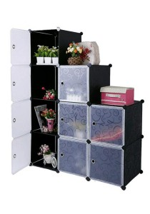 Tupper Cabinet 9 Cubes Black Stripes L-Shape DIY Decorative Shelf